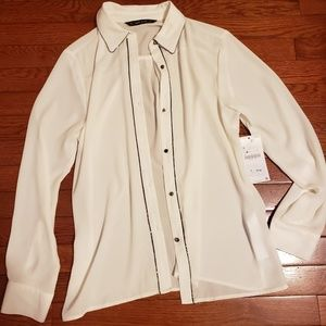 Zara Basics Sheer  Button Up Blouse